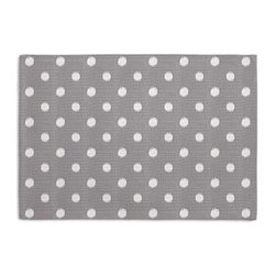 Gray & White Ikat Dot Custom Placemat Set - Is your table looking sad and lonely? Give it a boost with a set of Simple Placemats. Customizable in hundreds of fabrics, you're sure to find the perfect set for daily dining or that fancy shindig. We love it in this gray and white ikat polka dot for the preppy modern outdoor space.