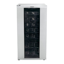 Cuisinart - Cuisinart CWC-3200 32 Bottle Private Reserve Wine Cellar Multicolor - CWC-3200 - Shop for Wine Refrigerators from Hayneedle.com! For the true wine connoisseur the Cuisinart CWC-3200 32 Bottle Private Reserve Wine Cellar is the ultimate home accessory. The tall slim cabinet has ample room for every variety of wine in your collection and maintains all of the bouquet flavor and body through careful temperature control. Use the electronic touchpad and blue LED display screen to set an optimum temperature between 39 and 68 degrees F. The wine cellar features a modern stainless steel body and a thermodynamic cooling system that runs at a quiet purr. Whether you're entertaining friends or relaxing with a glass in the evening this wine cellar ensures a perfect pour every time.About CuisinartOne of the most recognized names in cookware and kitchen products Cuisinart first became popular when introduced to the public by culinary experts Julia Child and James Beard. In 1973 the Cuisinart food processor revolutionized the way we create fine food and healthy dishes and since that time Cuisinart has continued its path of innovation. Under management by the Conair Corporation since 1989 Cuisinart is a universally celebrated name in kitchens across the globe. With a full-service product line including bakeware blenders coffeemakers cookware countertop appliances kitchen tools and much much more Cuisinart products are preferred by chefs and loved by consumers for durability ease of use superior quality and style.