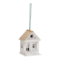 None - Wooden Birdhouse - Give the birds a charming home with this lakeside cottage style birdhouse. Finished in a bright white, this enchanting birdhouse is the perfect accessory for any quiet corner of your garden or backyard space.