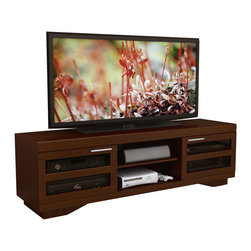 "Sonax - Sonax Granville 66"" Warm Cinnamon Wood Veneer TV Stand in Cinnamon - Sonax - TV Stands - B097RGT - Add a sleek contemporary look to your home theater display with this new extra wide TV bench from the Granville Collection. Sliding tempered glass doors framed with a Warm Cinnamon wood veneer offer the perfect stage for up to an 80"" TV while providing the ideal space to safely conceal your components and accessories. Beautiful brushed aluminum handles and spacious open shelves make this extra wide design the perfect way to sit down and enjoy your flat screen TV and home entertainment system. Maximize your living space with the versatility of both open and closed storage and make the ideal choice for entertainment."