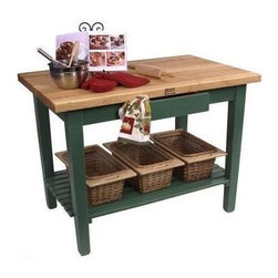 John Boos - Rectangular Worktable, Alabaster - Color: 36 x 24 Alabaster w/o Shelf1.75 in. Thick hard maple edge grain top. Stands 35 in. High. Baskets not included. Pictured in Basil Green finish