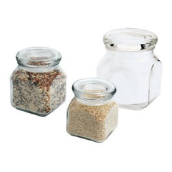Anchor Hocking 32-Ounce Emma Jar with Glass Lid - Nice jars for storage and display. We love the way storage jars look with multi-colored essentials on open shelves in the kitchen-it also helps us to remember to cook those French lentils that would normally hide in the pantry!