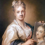 """Rosalba Carriera Self-Portrait Holding a Portrait of Her Sister Print - 16"""" x 20"""" Rosalba Carriera Self-Portrait Holding a Portrait of Her Sister premium archival print reproduced to meet museum quality standards. Our museum quality archival prints are produced using high-precision print technology for a more accurate reproduction printed on high quality, heavyweight matte presentation paper with fade-resistant, archival inks. Our progressive business model allows us to offer works of art to you at the best wholesale pricing, significantly less than art gallery prices, affordable to all. This line of artwork is produced with extra white border space (if you choose to have it framed, for your framer to work with to frame properly or utilize a larger mat and/or frame).  We present a comprehensive collection of exceptional art reproductions byRosalba Carriera."""