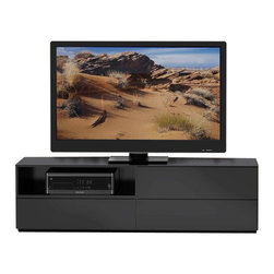 Nexera - Nexera Avenue 60-Inch TV Stand - Avenue 60-inches TV Stand features 1 open section and 1 closed section with drop-down door at the top, ideal to store your electronic components, and 2 large drawers on full extension ball bearing slides at the bottom, perfect to store and organize all your DVDs, accessories and more. Pair Avenue TV Stand with matching storage units to add storage and style to your set. Avenue Collection from Nexera proposes modular and flexible combinations for your entertainment room, home office area and bedroom. On top of all its smart features, the whole collection also features quality melamine and textured lacquer surfaces, solid metal or full extension slides and adjustable levelers.