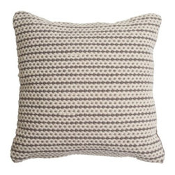 Blu Dot - Nana Pillow by Blu Dot - Whenever you need a hug, the Blu Dot Nana Pillow is always there for you. It is hand woven out of a soft wool/cotton blend, with thick rows of cream alternating with bright red or grey. Nana's pattern evokes a cable-knit sweater, and you'll find that it's just as warm and cozy. In 1997, Blu Dot was established in Minneapolis by three college friends with a shared passion for art, architecture and design. Then and today, their goal is to bring good design to as many people as possible, collaborating to create modern home furnishings and accessories that are useful, affordable and exceedingly desirable.