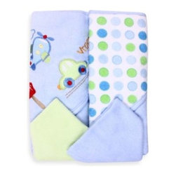Spasilk - Spasilk Airplane 2-Pack Hooded Towel and Washcloth Set in Blue - These soft, absorbent hooded towels have an adorable airplane design. They'll wrap your little one in cozy comfort at bathtime. They come with 2 matching washcloths.