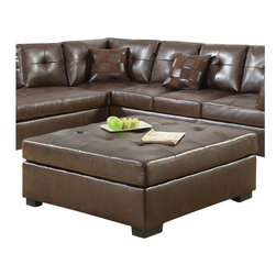 Coaster - Coaster Darie Leather Cocktail Ottoman in Brown - Coaster - Ottomans - 500687 - Bringing versatile function and pristine style to your home, this ottoman is the ultimate living room accessory. Upholstered with a plush button-tufted cushion, this ottoman offers optimal comfort and support for sitting or resting your legs. Placed in the center of the room, it also serves well as a table for eating and even working while lounging on the couch. Constructed with crisp lines and raised on block wood feet, this ottoman is infused with a sleek contemporary style that will dress up any room. Draped in a rich brown bonded leather, this ottoman's modern vibe is only further intensified, creating a chic atmosphere you will never forget.