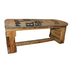 Pre-owned Rustic Bench with Coffee Bag Upholstered Seat - A rustic bench built with repurposed wood, while the seat is upholstered in antique coffee bean bags. It will be the perfect accent in an entryway, at the foot of the bed or on one side of a dining table in an Industrial space. This piece was built from scratch and is truly a one-of-a-kind!