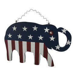 Zeckos - Whimsical American Flag Elephant Wooden Wall Hanging - This whimsically fun piece of Americana art looks amazing hanging in any home or office It's made from printed pressed wood, and features a whimsical bottle cap eye, and hangs from the curled wire hanger attached at the top. It measures 19 inches (48 cm) high, 12 3/4 inches (32 cm) wide and 1/2 inch (1 cm) deep. The edges have been lightly weathered giving it even more character, and would look amazing in a dining room, family room, or on a covered porch, and makes a wonderful gift for a flag waving, elephant loving friend