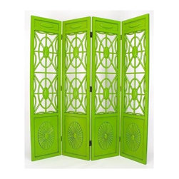 Wayborn - Spider Web 4 Panel Room Divider Screen in Gre - A distressed spring green finish highlights carved details on our four-panel divider. Closed insets at top and bottom feature raised medallion enhancements that provide framing for the center arrangement. Spider webs become stylistic with repeating hubs and circles linked by connectors. 4 Panels. Made from solid Basswood. Antiqued with a smooth finish. 72 in. W x 78 in. H (72 lbs.)