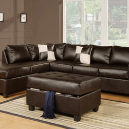 Poundex - Bobkona Modular Sectional - Features: -Three pieces.-Espresso bonded leather.-Hardwood frame.-Transitional style.-Modern, stylish and comfortable.-Square stitching pattern.-Able to setup the sectional with chaise on left or right side of sofa.-Includes matching storage ottoman and two duo tone decorative pillows.-Bobkona collection.-Collection: Bobkona.-Distressed: No.Dimensions: -Dimensions: 35'' H x 112'' W x 84'' D.-Overall Product Weight: 272.65 lbs.Warranty: -Manufacturer provides 6 month warranty.