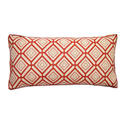 Square Feathers - Lucy Pillow, Diamonds Pillow - Lumbar pillows always come off as such a tailored option; one in the center of a bed or sofa can instantly pull together a room. This number comes in a feminine red and pink, but the geometric pattern keeps it from veering too delicate.