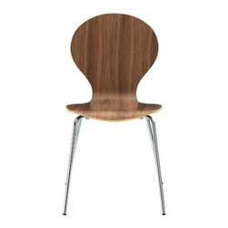 "LexMod - Insect Dining Side Chair in Walnut - Insect Dining Side Chair in Walnut - For true flights of fancy, no house is complete without an Insect Chair. Good for dinning room or living room, this creatively styled piece is sure to draw attention and admiration. Set Includes: One - Insect Chair in Glossy Wood Laminate Body, Stackable, Chrome Legs Overall Product Dimensions: 20.5""L x 17""W x 34""H Seat Dimensions: 16""L x 18""H - Mid Century Modern Furniture."