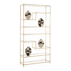 "Arteriors - Arteriors Home - Worcester Gold Leaf Bookshelf - 6817 - Textured iron frame asymmetrical bookshelf in a bright gold leaf finish with 8 tiered glass shelves for display and storage. Features: Worchester Collection Bookshelf Clear GlassGold Leaf Finish8 tiered glass shelves for display and storage Some Assembly Required. Dimensions: W 40 x D 13"" x H 82 1/2"""