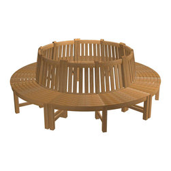 Westminster Teak Furniture - Teak Tree Bench - Your very own merry-go-round! This tree bench consists of five sections that create a complete circle. Expertly crafted of solid ecofriendly teak, it comes with a lifetime guarantee to provide years of enjoyment.