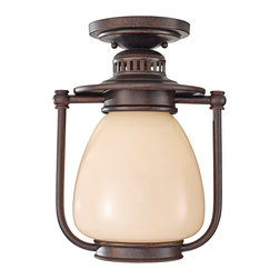 """Murray Feiss - Traditional Feiss McCoy Grecian Bronze Outdoor CFL Ceiling Lantern - Add a retro-transitional look to your exterior spaces with this metal and cream glass CFL outdoor ceiling light. The frame features a deep Grecian Bronze finish that stands boldly against the light glass. Inspired by classic lantern designs updated for today. From the Murray Feiss outdoor lighting collection. Comforting style CFL outdoor ceiling light. Metal and glass construction. Grecian Bronze finish. Beautiful cream glass. From Murray Feiss. Includes one 13 watt GU24 CFL bulb. 9 1/4"""" wide. 12 1/2"""" high. Canopy is 5 1/2"""" wide.  Comforting style CFL outdoor ceiling light.  Metal and glass construction.  Grecian Bronze finish.  Beautiful cream glass.  From Feiss.  Damp location rated only.  Includes one 13 watt GU24 CFL bulb.  9 1/4"""" wide.  12 1/2"""" high.  Canopy is 5 1/2"""" wide."""