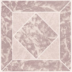 "NATIONAL BRAND ALTERNATIVE - Floor Tile No Wax Self Stick 12"" x 12"" Rose Marble - Features:"