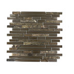 "GlassTileStore - Tao Wild Mustang - TAO WILD MUSTANG GLASS TILE  The mixture of glass and stone creates a sleek and attractive design or any room. The combination of the blend of polished and frosted glass in brown and the dark emperidor creates a beautiful modern and contemporary backdrop. The mesh backing not only simplifies installation, it also allows the tiles to be separated which adds to their design flexibility.     Chip Size: 1/2"" x Random    Color: Brown and Dark Emperidor   Materials: Emperidor and Glass   Finish: Polished and Frosted   Sold by the Sheet - each sheet measures 12""x12"" (1 sq. ft.)   Thickness: 8mm       - Glass Tiles -"