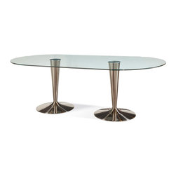 Bassett Mirror Company - Bassett Mirror Concorde Oval Glass Dining Table w/ Double Chrome Bases - Oval Glass Dining Table w/ Double Chrome Bases belongs to Concorde Collection by Bassett Mirror Company Bassett Mirror Co. Concorde Round Stainless Dining Base From sleek, contemporary lines to classic designs with timeless appeal. Brushed chrome base with fused glass top. Table Base (1) , Table Top (1)