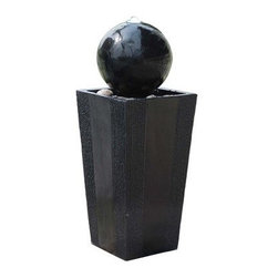 Alpine Corporation - Ball on Stand Fountain with LED Lights - This fountain uses sleek black and simple shades to bring home high modern style. Hand crafted in a more durable resin and fiberglass that will last for many years, this fountain will provide a calming effect as it soothes nerves and restores body, mind, and spirit.