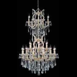 """Elegant Lighting 2801D30SC-GT/SS 25 Light Maria Theresa Crystal Chandelier - Additional 10% Discount: Coupon code """"Houzz"""""""