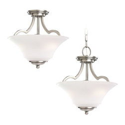 Seagull - Seagull Somerton Semi-Flush Mount Ceiling Fixture in Antique Brushed Nickel - Shown in picture: 77375-965 Two Light Convertible Semi-Flush/Pendant in Antique Brushed Nickel finish with Satin Etched Glass