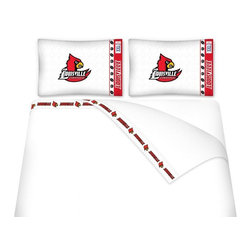 Sports Coverage - Sports Coverage NCAA Louisville Cardinals Microfiber Hem Sheet Set - Twin - NCAA Louisville Cardinals Microfiber Hem Sheet Set have an ultrafine peach weave that is softer and more comfortable than cotton. Its brushed silk-like embrace provides good insulation and warmth, yet is breathable.   The 100% polyester microfiber is wrinkle-resistant, washes beautifully, and dries quickly with never any shrinkage. The pillowcase has a white on white print beneath the officially licensed team name and logo printed in vibrant team colors, complimenting the new printed hems.    Features: -  Weight of fabric - 92GSM ,  - Soothing texture and 11 pocket,  -  100% Polyester,  - Machine wash in cold water with light colors,  - Use gentle cycle and no bleach ,  - Tumble-dry,  - Do not iron ,