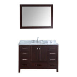 "Ari Kitchen and Bath - Bella SP 48"" Espresso Transitional Style Bathroom Vanity and Mirror - Beautiful transitional style bathroom vanity by Ari Kitchen and Bath, a new brand manufacturing quality bathroom decor at affordable prices. The new 48"" Bella SP comes with 1"" edge Italian carrara marble top, backsplash, rectangle undermount CUPC basin, soft-closing drawers and doors, concealed drawer hinges, espresso frame mirror and rich espresso solid wood bathroom cabinet. Absolutely no MDF or Particle board on all of our bathroom vanities. All of our bathroom vanities come assembled by the manufacturer, minimal assembly required."