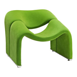 "Modway - Cusp Lounge Chair in Green - Start at fresh beginnings with the Cusp modern lounge chair. Made of dense foam padding and fabric upholstery, Cusp is a transition piece unlike anything else on the market today. The craftsmanship is readily evident in this piece that more resembles a display of organically expressive art, than it does a chair. But the practical elements of Cusp are just as delightful as the artistry. Sit deeply as you spread your arms out, and relax your neck and shoulder muscles, as you bask at the horizon line ahead. Set Includes: One - Cusp Lounge Chair. Modern lounge chair; Dense foam padding; Upholstered in fabric; Built in armrests; No assembly required; Overall Product Dimensions: 27.5""L x 33""W x 27.5""H; Seat Dimensions: 21""L x 15.5 - 19""H; Chair Legs Thickness: 2.5""W"