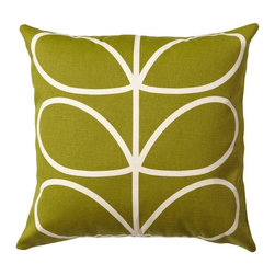 "Orla Kiely - Orla Kiely Linear Stem Pillow/Cushion - Apple/Cream - Filled pillow features Orla Kiely's signature Linear Stem print. Two sided design with 90% cotton/10% linen with feather fill. Machine washable cover. Measures: 18"" square"