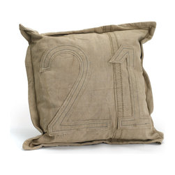Go Home - #21 Gypsy Square Pillow - #21 Gypsy Square Pillow is a compliment a casual sofa or add it to your favorite bedding. Made of Vintage Tent Canvas ,its material condition and color may slightly vary as it is recycled.