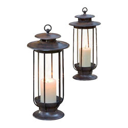 H Potter - Large and Small Hurricane Lantern Set - This pair of lanterns inspires the feeling you're living along a cozy seaboard. They feature clear hurricane-style bases, top ventilation ports and hanging hooks.