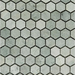"Marbleville - Ming Green 1"" Hexagon Polished Marble Mosaic  in 12"" x 12"" Sheet - Premium Grade Ming Green 1"" Hexagon Polished Mesh-Mounted Marble Mosaic is a splendid Tile to add to your decor. Its aesthetically pleasing look can add great value to the any ambience. This Mosaic Tile is constructed from durable, selected natural stone Marble material. The tile is manufactured to a high standard, each tile is hand selected to ensure quality. It is perfect for any interior/exterior projects such as kitchen backsplash, bathroom flooring, shower surround, countertop, dining room, entryway, corridor, balcony, spa, pool, fountain, etc."