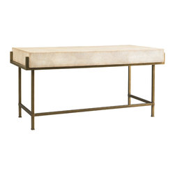 Lillian August - Lillian August Simone Shagreen and Metal Desk LA96339-01 - This box on stand design offers a stylishly contemporary flair combining the three drawer shagreen top with the square iron base in a wonderfully textured bronze finish.