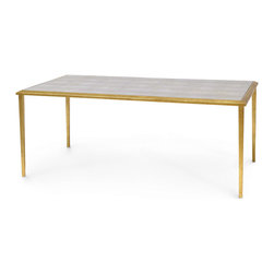 Kathy Kuo Home - Madeleine Hollywood Regency Faux Shagreen Gold Leaf Coffee Table - Gilded and glamorous, this faux shagreen coffee table exudes Old Hollywood elegance. The long rectangular top has ample space for serving champagne and caviar or espresso and biscotti. The taupe, textured faux shagreen top adds a soft neutral tone, contrasting with the linear gold leaf tapered legs.