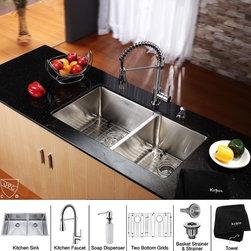 Kraus - Stainless Steel Undermount Kitchen Sink Faucet / Dispenser - Add an elegant touch to your kitchen with unique Kraus kitchen combo