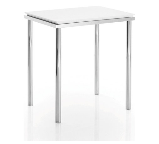 WS Bath Collections - Scagni 54701 - Scagni by WS Bath Collections Stool in White Matstone/ Chromed Brass