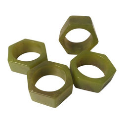 Used 1960s Marbleized Bakelite Napkin Rings - S/4 - A set of 4 green Bakelite rounded square napkin rings.  A great hostess thinks of all the details!  Don't let the napkins go un-held by this cool retro set of holders! There are no markings on the pieces, but similar sets have been priced at $595 online!