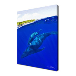 Ready2HangArt - Ready2hangart Chris Doherty 'Whales' Canvas Wall Art - The 'Whales' canvas art depicts a full grown whale with it's offspring on its backside,  swimming in the sea, just a few feet from land. This canvas features a tropical theme and is gallery-wrapped canvas for a contemporary look.