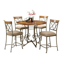 "Powell Furniture - Powell Furniture Hamilton 5 Dining Piece Set in Brushed Medium Cherry - Powell Furniture - Dining Sets - 697441M2 - Transitional 5-Piece Hamilton Gathering Set is perfect for dining and entertaining. The gathering table features an interesting curve and scroll designed bottom. The counter stools feature a diamond shaped back elegant curved legs and upholstered seat covered in a diamond patterned taupe/beige microfiber. Finished in ""Brushed faux medium cherry"" wood with ""matte pewter and bronze"" metal. Some assembly required."