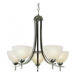 Joshua Marshal - Five Light Frosted Glass Rubbed Oil Bronze Up Chandelier - Five Light Frosted Glass Rubbed Oil Bronze Up Chandelier