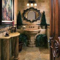 Mediterranean Powder Room by Authentic Durango Stone™