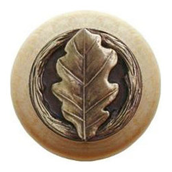 "Inviting Home - Oak Leaf Natural Wood Knob (clear finish with antique brass) - Oak Leaf Natural Wood Knob in clear finish with hand-cast antique brass insert; 1-1/2"" diameter Product Specification: Made in the USA. Fine-art foundry hand-pours and hand finished hardware knobs and pulls using Old World methods. Lifetime guaranteed against flaws in craftsmanship. Exceptional clarity of details and depth of relief. All knobs and pulls are hand cast from solid fine pewter or solid bronze. The term antique refers to special methods of treating metal so there is contrast between relief and recessed areas. Knobs and Pulls are lacquered to protect the finish. Alternate finishes are available."
