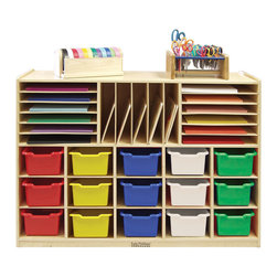 Ecr4kids - Ecr4Kids Home Indoor Kids Room Multi-Section Birch Storage W/15 Bins - As - Mobile Multi-Section Classroom Storage Cabinet (with 15 Assorted Totes)