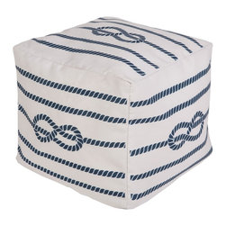Surya Knot Pouf - 100% Polyester Made in U.S.A. Outdoors Safe Color (Pantone TPX): Ivory (12-4306), Cobalt (18-3921)