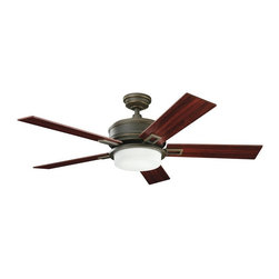 "DECORATIVE FANS - DECORATIVE FANS Talbot 52"" Transitional Ceiling Fan X-ZLO041003 - Crisp lines are complimented by the warm tones of the Oiled Bronze finish and coordinating reversible cherry/mahogany fan blades on this Decorative Fans ceiling fan. From the Talbot Collection, it also features an etched cased opal glass shade to complete the look."