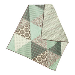 abbey's house - Baby toddler quilt-Big triangles - This quilt is made with beautiful teals and browns. The large triangle pattern is unique and fun and showcases each fabric individually.
