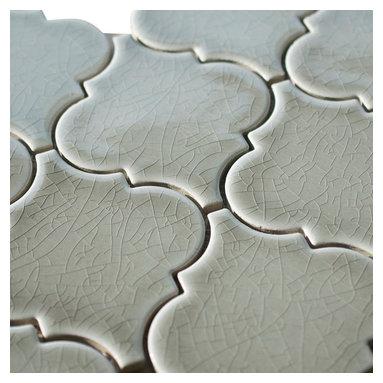 Stone & Co - Dove Gray Porcelain Arabesque Mosaic Tile - Dove gray porcelain arabesque mosaic tile