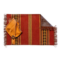 Silverado Home - Genghis Red Fringed Placemat - Sold in Sets of Four: