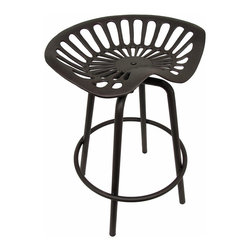 Zeckos - Cast Iron Tractor Seat Swivel Outdoor Stool Garden Decor - This cool rustic cast iron tractor seat stool is a great addition to gardens, flower beds and patios, and is a visual memento of a former era of classic agriculture life. The seat swivels around its base, making it great to use at potting tables or greenhouses. The stool has a wonderful brown, rust-like finish giving it an antique look. The seat height is adjustable from 25 to 26 1/2 inches. Adjustment is made via the screw that attaches the seat to the metal base The seat measures 20 inches by 15 inches. It's reminiscent of the good old days of agriculture machinery, and makes an amazing gift any farm enthusiast is sure to admire